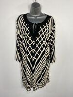 WOMENS WALLIS SIZE LARGE BLACK MIX GEO PRINT 3/4 SLEEVE SILKY FEEL SHIFT DRESS