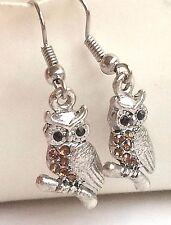 Silver Plated Crystal Owl Earrings Pierced Dangle Owls Bird Brown USA Seller