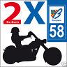 2 stickers autocollants style plaque immatriculation moto Département 58