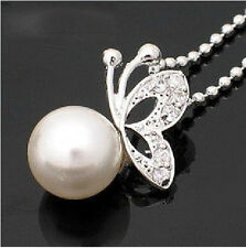 Amazing White Pearl & Silver Chain Butterflies Pendant Necklace N126