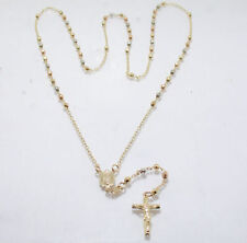 ROSARY NECKLACE CROSS 14K Yellow Rose White Gold 26""
