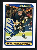 Paul MacLean #110 signed autograph auto 1990-91 Topps Hockey Trading Card