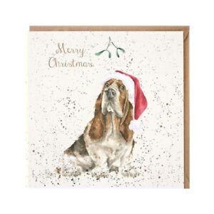 Christmas Basset Hound Dog Xmas Greeting Card – Mistletoe by Wrendale Designs