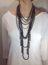 White House Black Market Multi Chains & Beads And Rhinestone Necklace