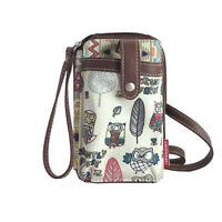 Womens Unionbay Owl Cell Phone Wristlet Zip Closure Crossbody Strap Multi Sleeve