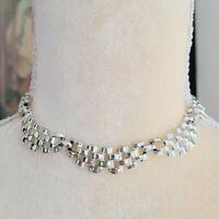 Vintage Coro Checkered Basket Weave Silver Tone Collar Choker Necklace