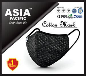 Premium Reusable 5 Layers Cotton Face Mask BLACK (CE/ISO/NIOSH/ROHS Certified)