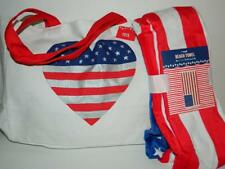 American Flag Heart Canvas Tote Bag Handbag w/Beach Towel Patriotic Book Pool