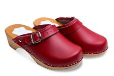 UNIQUE HAND MADE CLOG WOODEN SOLE - GENUINE LEATHER D4
