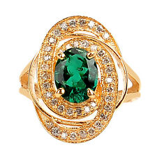 1.55 Carat 14KT Yellow Gold Natural Green Emerald EGL Certified Diamond Ring