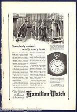 1922 HAMILTONWATCH advertisement, Railroad pocket watch, late for train
