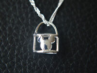 """Shiny 925 Sterling Silver PL Hollow Cut Out Micky Mouse Pendant Necklace 17"""""""