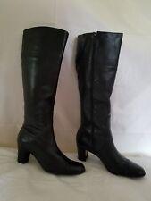 TALBOTS Black Leather Zip Knee High Heel Boots Womens Size 7 W