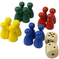 Ersatz Spielfiguren Männchen für Halma Ludo etc. 4x grün blau rot gelb +2 Würfel
