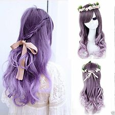 OhYes® Harajuku Ombre Wig Grey Mixed Purple Pelucas Pelo Curly Natural...