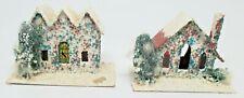 """Vtg Cardboard Christmas Village Putz Mica 2.5"""" Pair of Houses Japan - As Is"""