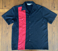 Mens DaVinci California red black bowling rockabilly button-up s/s shirt Small