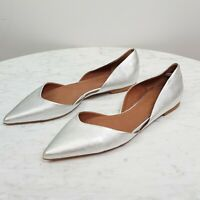 [ COUNTRY ROAD ]  Womens Leather Flat Slip on Silver Pointed Toe Shoes | Size 38