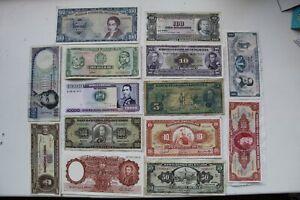South America Banknotes 14 total, 1940-89 (ARG,BRA,CHI, ECU, BOL, COL, PER, VEN)