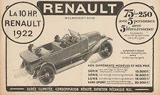 Y8100 RENAULT 10 HP - Listino Prezzi - Pubblicità d'epoca - 1922 Old advertising