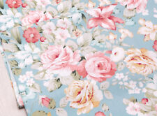 ROSES Fabric- 100% COTTON vintage Shabby Chic Blue FLORAL MATERIAL by the metre