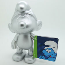 Puffi Puffo Smurf Figurine Schtroumpf Silver-Colured Mat 20cm Vinyl Toys