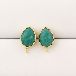 Tiny Pair Dyed Emerald Handmade Yellow Gold Plated DIY Stud Earrings Connector