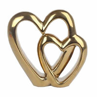Gold Love Heart Ornament Modern Home Gift Freestanding 15cm Wedding Decor New