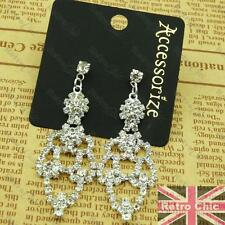 "2.25"" CRYSTAL CHANDELIER EARRINGS 5cm drop SPARKLY silver rhinestone PROM studs"