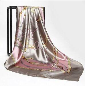 LARGE Silver Pink DESIGNER PRINT SCARF SILK SATIN SQUARE HEAD SHAWL FREE POST