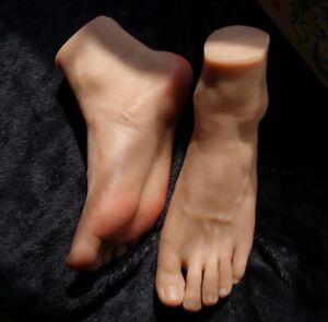 Pair Realistic Silicone Adult Man Foot Model Simulation Fetishism Display
