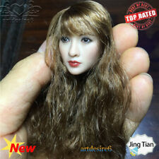 """1:6 Soldier Head Sculpt Asian Beauty Girl Head Carving Model Toys for 12"""" Body"""