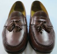 Cole Haan Solid Brown Leather Tassel Slip On Loafer Casual Shoes Size 10 W EUC