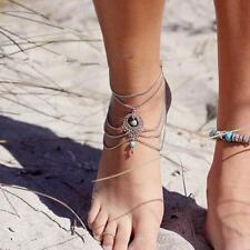 Boho Turquoise Beads Tassel Chain Anklet Barefoot Sandals Beach Foot Jewelry New
