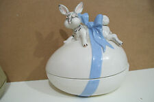 Ceramic Large Easter Egg Shape Covered Dish With Rabbit & Bow By Atlantic Mold