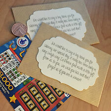 10 Lottery/Scratch Card Envelope/Wallet/Holder Wedding Favours Gift Retro/Rustic