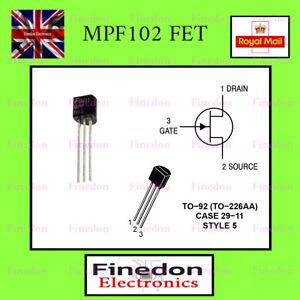 MPF102 JFET VHF N - Channel Amplifier Transistor UK Seller