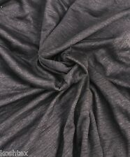 """100% Linen JERSEY Knit Fabric By Yard Charcoal Pre Washed 48""""W 12/15"""
