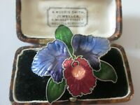 VINTAGE LARGE CLOISONNE ENAMEL ORCHID LILLY FLOWER BROOCH SHAWL PIN