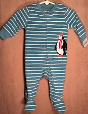 Nwt Infant Boys Carter's Fleece Pajamas 3M Footie Striped Holiday Penguin New