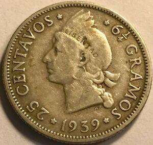 DOMINICAN REPUBLIC - Silver 25 Centavos - 1939 - KM-20 - Very Fine - KEY DATE!
