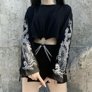 Women Gothic Dragon Printed T-shirt Long Sleeve Chain Hollow Crop Top Pullover