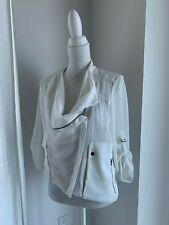 Helmut Lang White Crinkle Crepe & Leather Moto Jacket SZ M