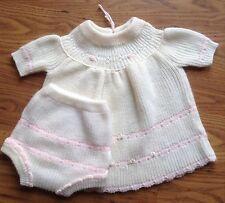 Vintage 2T Knit Toddler Girl Dress & Bloomer Set White Pink Bishop Handmade