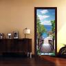 3D Wood Bridge Seaside Scenery Self-Adhesive Door Murals Wall Sticker Home Decal