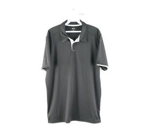 Oakley Mens Large Bubba Watson Spell Out Short Sleeve Golfing Polo Shirt Black