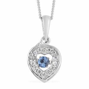 Ceylon Blue Sapphire, Cambodian Zircon Platinum Over Sterling Silver Inner Heart