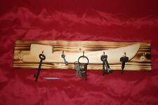 Boat shape wooden key tidy. 5 hooks rack. Canal narrowboat tug. Utensils hanger