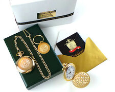 USA ARMY Hunter 24k Gold Clad Military POCKET WATCH and Keyring Luxury Gift Set