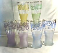 """6 Vintage Pastel Frosted And Applied Fruit 6 3/4"""" 16 oz. Ice Tea Tumblers"""